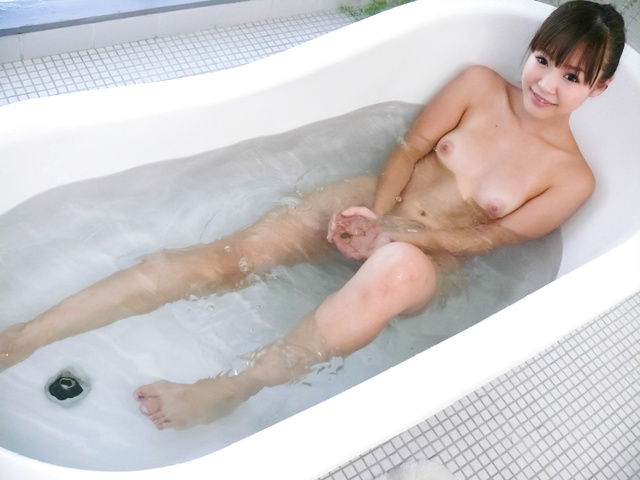 Momoka Rin - Three guys meet Momoka Rin in the bathtub for a japan blow job - Picture 2
