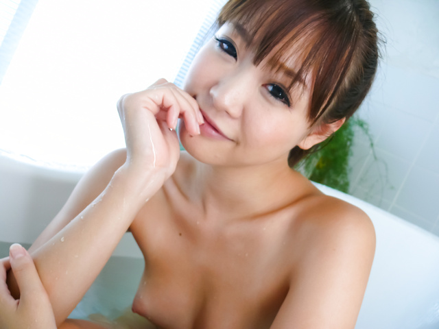 Momoka Rin - Three guys meet Momoka Rin in the bathtub for a japan blow job - Picture 4