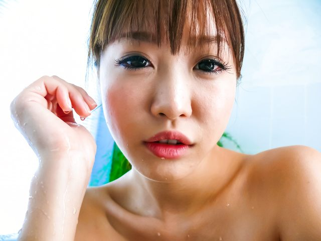 Momoka Rin - Three guys meet Momoka Rin in the bathtub for a japan blow job - Picture 5