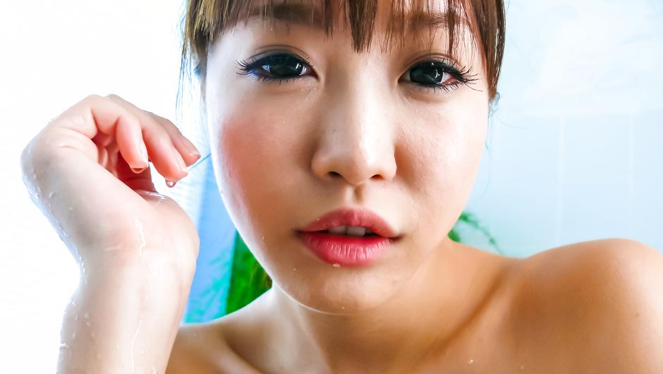 Three guys meet Momoka Rin in the bathtub for a japan blow job