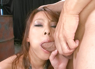 Asuka Asian rubs her clit while is fucked in mouth by hard penis