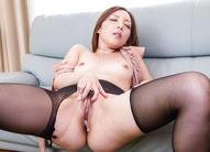 Maki Mizusawa has nooky fucked and filled with cum through nylon