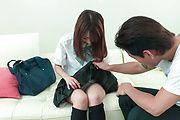 Nana Fujii - Schoolgirl Nana Fujii Asian blow jobs on cam  - Picture 1