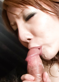 Yuna Hirose Asian rubs her clit with oil and takes dong in mouth