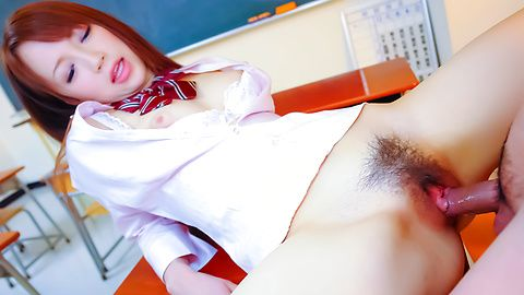 Perky and petite school girl Nazuna Otoi stripping down her skirt and get screwed