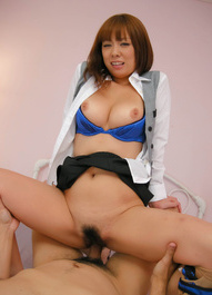 Asuka Asian with big tits sucks dong and is nailed through nylon