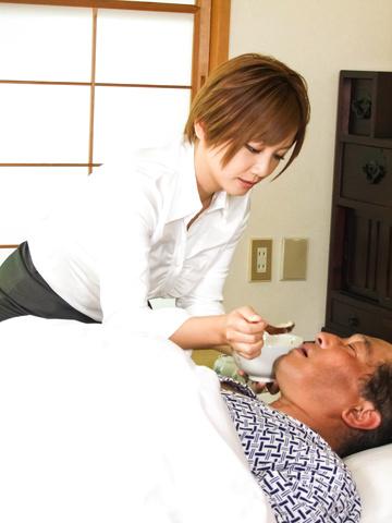Meguru Kosaka - Meguru Kosaka Uses Her Big MILF Tits To Get Him Off - Picture 1