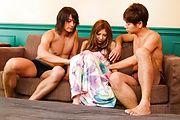 Miku Kohinata - Miku Kohinata asian masturbate and fucked by two - Picture 1
