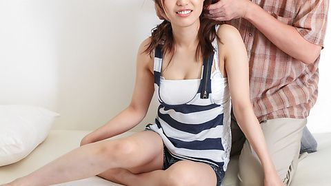 Kaede Kyomoto gets him to fuck her after a japanese blowjob