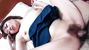 Busty, Beautiful Miki Uemura Hairy Pussy Pounded by Cock