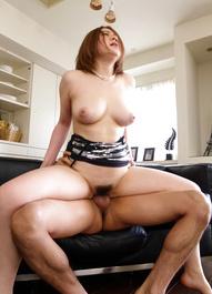 Alice Ozawa Asian with big knockers sucks boners in hot threesome