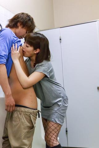 Riho Mikami - Sweet Riho Mikami kneels to provide Japanese blow job  - Picture 12
