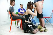 Miku Airi - Hot maid Miku Airi gives an asian blowjob to three guys - Picture 10