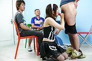 Miku Airi - Hot maid Miku Airi gives an asian blowjob to three guys - Picture 11