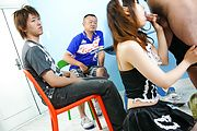 Miku Airi - Hot maid Miku Airi gives an asian blowjob to three guys - Picture 5