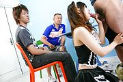 Miku Airi - Hot maid Miku Airi gives an asian blowjob to three guys - Picture 6