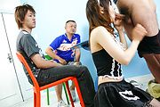 Miku Airi - Hot maid Miku Airi gives an asian blowjob to three guys - Picture 7