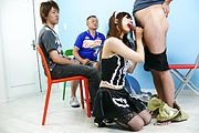 Miku Airi - Hot maid Miku Airi gives an asian blowjob to three guys - Picture 8