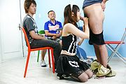 Miku Airi - Hot maid Miku Airi gives an asian blowjob to three guys - Picture 9