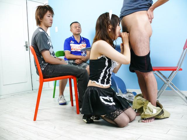 Miku Airi - Hot maid Miku Airi gives an asian blowjob to three guys - Picture 10