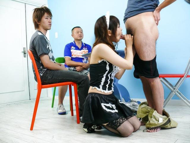 Miku Airi - Hot maid Miku Airi gives an asian blowjob to three guys - Picture 11