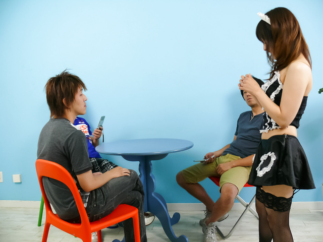 Miku Airi - Hot maid Miku Airi gives an asian blowjob to three guys - Picture 1