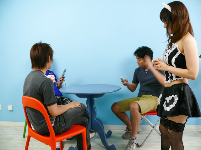Miku Airi - Hot maid Miku Airi gives an asian blowjob to three guys - Picture 2