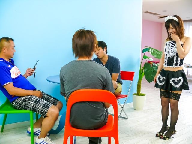 Miku Airi - Hot maid Miku Airi gives an asian blowjob to three guys - Picture 3