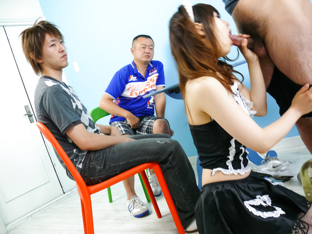 Miku Airi - Hot maid Miku Airi gives an asian blowjob to three guys - Picture 5