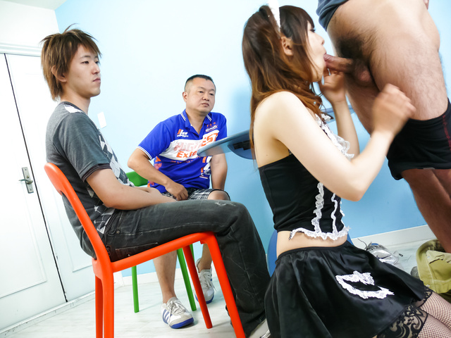 Miku Airi - Hot maid Miku Airi gives an asian blowjob to three guys - Picture 7