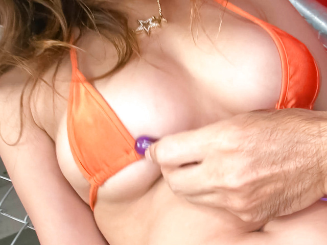 Asuka - Busty brunette chick stripping off in her bikini and hard fucked - Picture 7