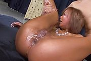 Riku Hinano - Oiled up blond pervert Riku Hinano pussy fondled and double penetrated - Picture 5