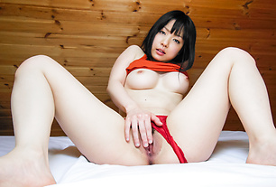Hot solo witha busty Japanese babe and her Asian dildo