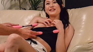 Small tits Kyoko Nakajima provide angelic blowjob on cam