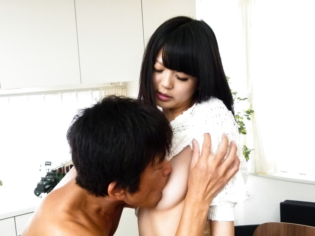 Riisa Minami - Brunette Riisa Minami gives asian blowjob before sex - Picture 8
