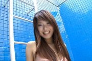 Yuuno Hoshi - Pretty Asian chick getting naked and pussy rubbing - Picture 2