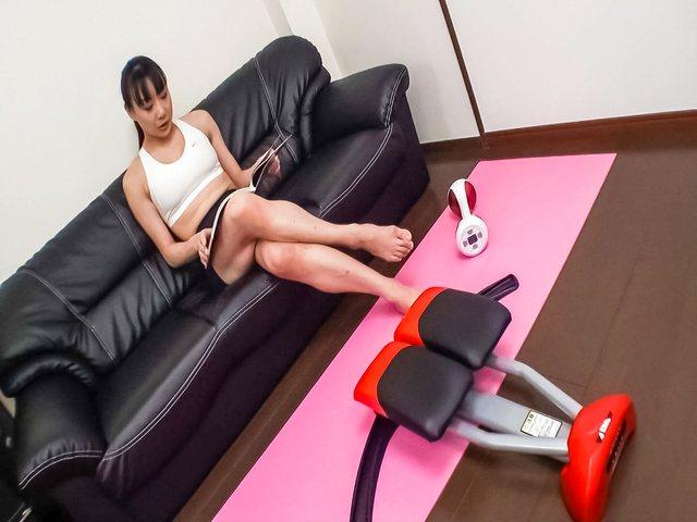 Miho Wakabayashi - Busty Miho Wakabayashi Toyed to Orgasm During Exercise - Picture 1