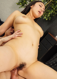 Yuri Honma with sucked boobs has cum pouring from hairy vagina