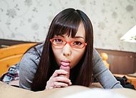 Chiemi Yada Asian with specs takes boner between her sexy lips
