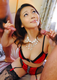 Minako Uchida Asian in red black corset sucks dongs and is fucked