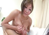 Hiyoko Morinaga Asian squeezes dick between jugs and gets cum