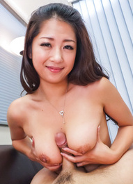 Satomi Suzuki licks, strokes and gets tool between her knockers