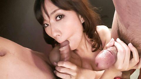 MILF Manami Komukai Sucks Two Dicks For Cum