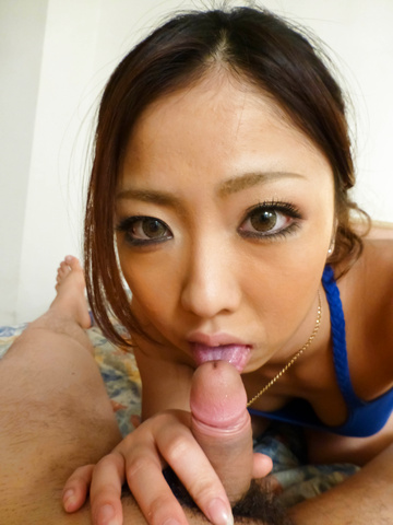 Yui Nanase - Yui Nanase shows her young japanese tits while giving a BJ - Picture 3