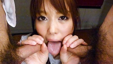 Schoolgirl Moe Sakura gives an asian blow job
