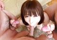 Yuri Sato's asian girl blowjob for three guys