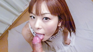 Anri Sonozaki gives warm Asian blowjob during hardcore