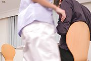 Chihiro Akino - Busty nurse amazes with two Japanese blowjobs - Picture 5