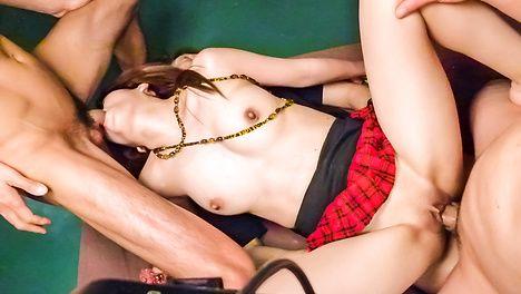 An asian blow job leads to a DP fucking with Miyu Aoi