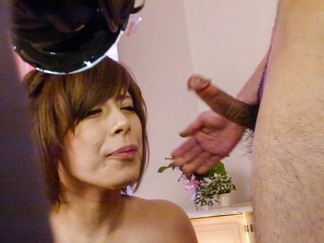 Ririsu Ayaka - Ririsu Ayaka gives a japanese blowjob to two guys while in stockings - Picture 12